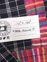 Guatemalan Fabric, NAVY BLUE PLAID vintage textile with Randa Embroidery