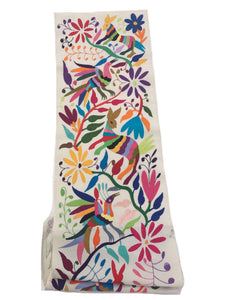 Mexican Textile. Rainbow of colors, Hand-embroidery on Ivory Cotton. Tenango, Otomi