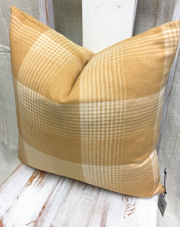 SALE! Yellow Wool Plaid pillow covers, Farmhouse or Cottage style, 20 inch square, mustard color