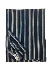 Stripe Mud Cloth, Authentic African Indigo Cotton fabric with Steel Blue Stripes