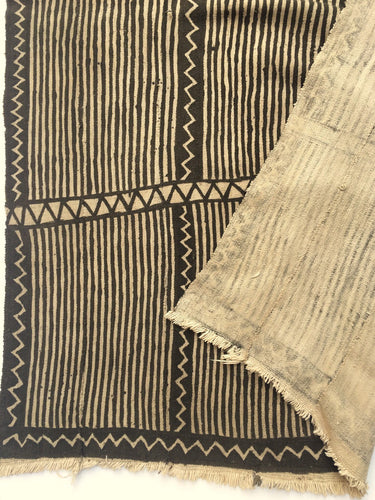 Vintage African Mudcloth, Brown and Natural Color, Bogolan textile