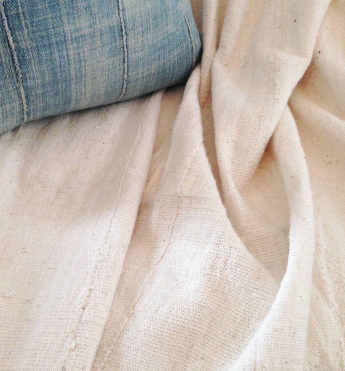 White Mud Cloth, Pre-washed, Natural/Oyster color: 58 inches x 39