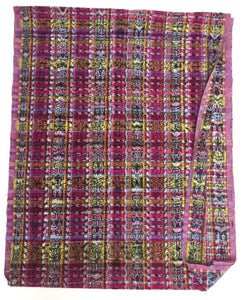 Guatemalan Fabric, Vintage Ikat, Cotton, multi colors with dusty pinks, global style fabric, boho textile