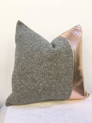 Rose Gold Leather with wool tweed pillow covers, 20 inch x 20 inch