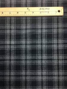 Cotton Flannel Plaid, Refined Black and Gray weave, scarf or shirt fabric, Yarn-dyed plaid