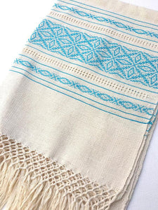 Boho Style Mexican Scarf or Throw, loose weave design, unbleached cotton, Fringe Detail Ivory/Turquoise