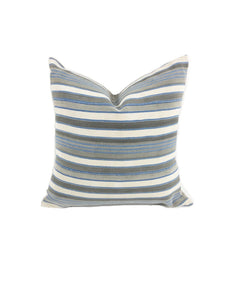 Mud Cloth Striped Pillow with Linen Back, Vintage Accent Pillow Cover