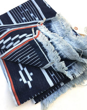 Boho Home, Vintage Baule Ikat Strip Cloth, Indigo Blue, Soft powder blue, mud cloth