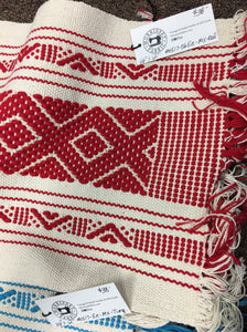 Boho Fringed Textile. Mexican table runner, Hand-Loomed, Turquoise/ivory Or Red/Ivory, Boho / Tribal Decor Red
