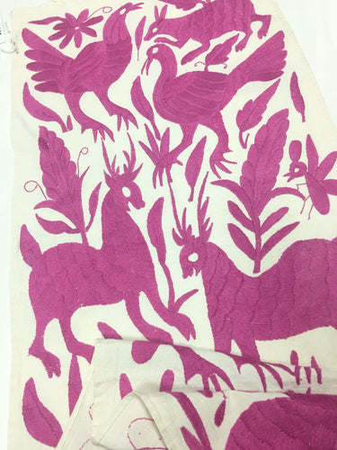 Otomi, Pink embroidery textile, Table Runner from Mexico, Otomi Embroidery,Hand-embroidery on Ivory Cotton