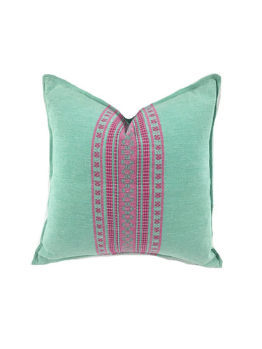 Mexican pillow cover, Seafoam Pink, Bohemian, Global Style Home Decor, All Cotton
