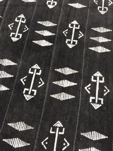 Mud Cloth, Charcoal Gray with tribal print, Washed and ready to use