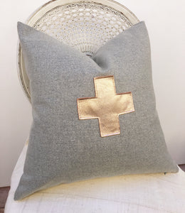 CLEARANCE! Gray and Rose Gold Leather pillow covers, 20 inch square
