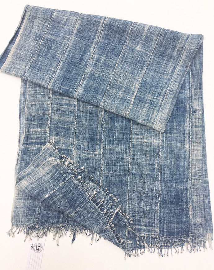 Indigo Wrap, Mud Cloth, African Indigo Mossi, Fringe! Vintage mud cloth