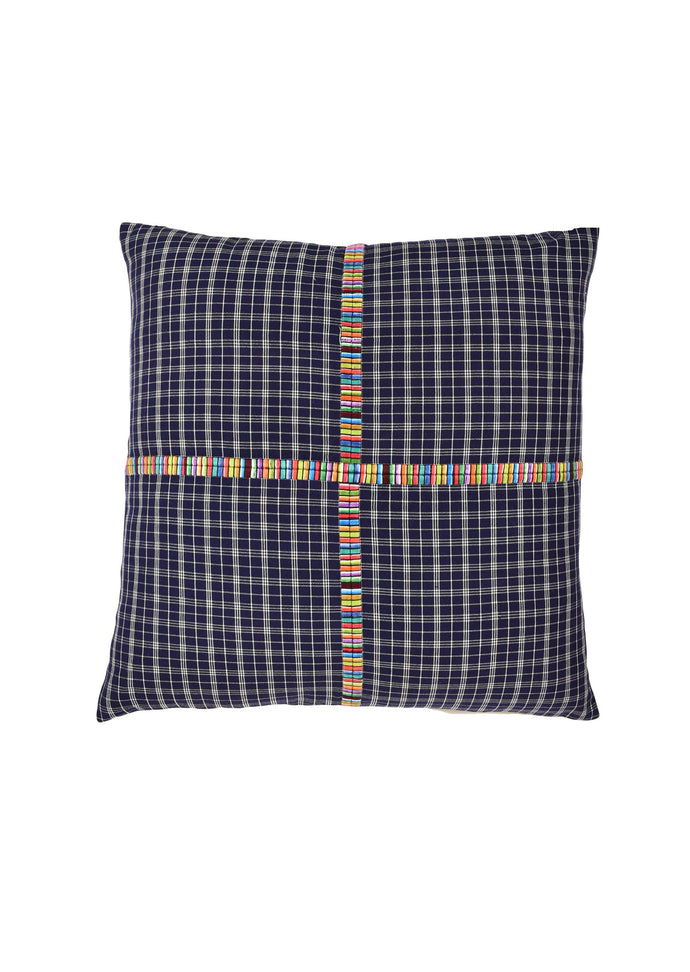 Guatemalan Plaid Pillow Cover, Vintage indigo cloth, Bohemian Style