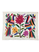 Otomi Embroidered Textile, From Mexico, Rainbow Hand-Embroidery on Ivory Cotton, A23