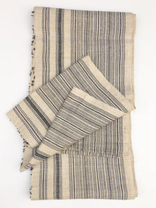 Chinese Hemp/Linen Fabric, Black & natural stripes, Hmong Hill Tribe
