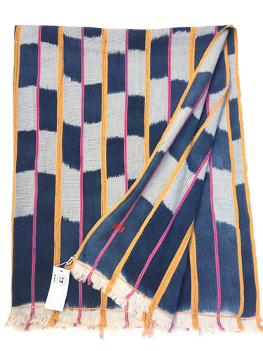 African Baule cloth, Bohemian textile, Checkered Blue, White, Pink, Yellow Vintage Ikat