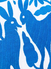 Medium blue Otomi Embroidered Textile. Primitive Animals, Hand-embroidery