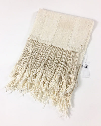 Homespun Cotton Mud Cloth throw, Rustic Textured unbleached with fringe