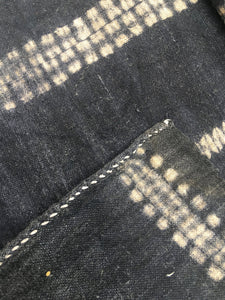 Dark Gray Shibori Fabric completely hand made, Hill Tribe Vintage Textile, Asia