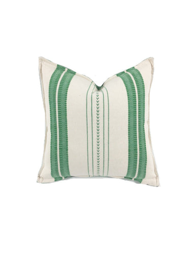 Mexican pillow cover, Green Striped, Bohemian, Global Style Home Decor, All Cotton