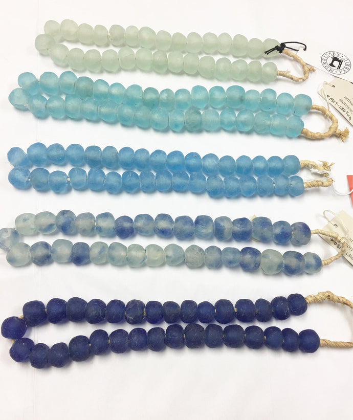 Recycled Glass, LARGE Glass Beads from Africa, Boho table top decor, Hand Made of Recycled Glass