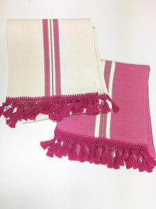 Boho Fringed Fabric, Thick Hot Pink tassels, Casual Style, Hand-Loomed, Boho Decor