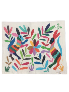 Otomi Textile from Mexico, Otomi Embroidery, Hand-embroidery on Ivory Cotton