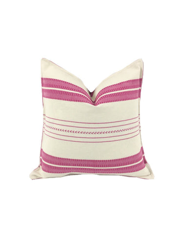 Mexican pillow cover, Pink Striped, Bohemian, Global Style Home Decor, All Cotton