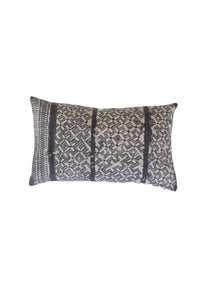 Chinese Hill Tribe Batik Mini Lumbar Pillow Cover, Gray and Natural Bohemian Pillow with Patch