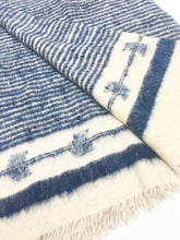 Momos blanket, Indigo and Ivory Wool Chamarra from Guatemala, Homespun woolen, Natural Dyes.