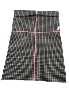 Guatemalan Fabric, BLACK PLAID vintage Throw, with Randa Embroidery