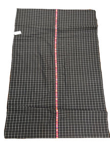 Guatemalan Fabric, BLACK PLAID vintage textile with Randa Embroidery