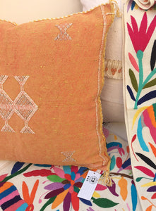 Cactus silk, Orange Sorbet Vintage Moroccan pillow cover, Bohemian, Sabrasilk,