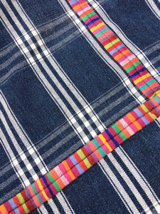 Guatemalan Fabric, Vintage Corte Textile with Rainbow color embroidery
