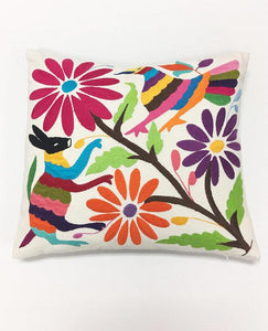 Otomi Fabric Pillow, Hand Embroidered Otomi Boho Pillow, Global Style