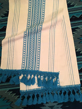 Boho Fringed Textile. Casual Style, Hand-Loomed, Ivory and Blue, Boho / Southwestern Decor