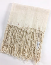 Homespun Cotton Mud Cloth throw, Rustic Textured unbleached with fringe, A