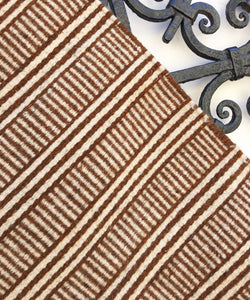 Rust & Ivory Boho Wool Rug. Casual Style, Hand-Loomed, Striped Rug, Southwestern/Mexican Decor