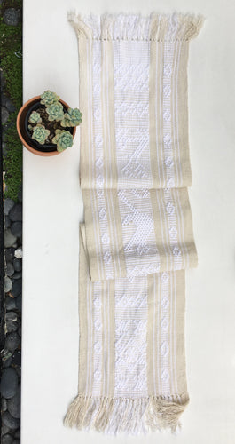 Boho Fringed Textile. Mexican table runner, Hand-Loomed, White/Narural, Boho / Southwestern Decor
