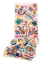 Hand-embroidery, Tenango Mexican Textile. Rainbow of colors on Ivory Cotton. Otomi
