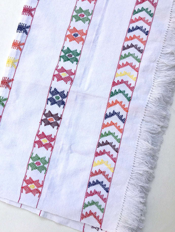 Boho Style Multi Color & White Mexican Linen, Tribal Design, Hand-Loomed, Fringe Detail, Cotton Boho Fabric.