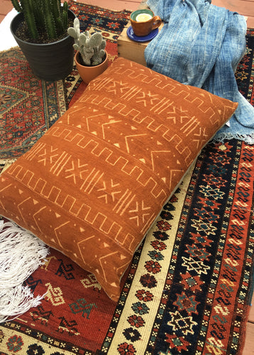 King Size Mud cloth Floor Pillow or Dog Bed, 26 x 36 inch Boho