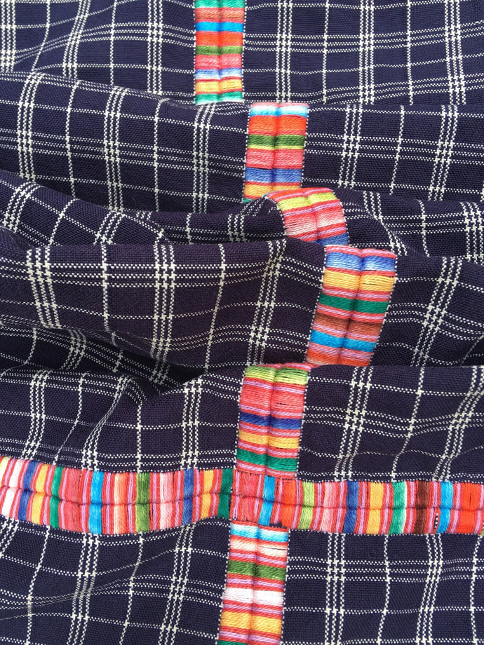 Guatemalan Fabric, BLUE PLAID vintage textile with Randa Embroidery