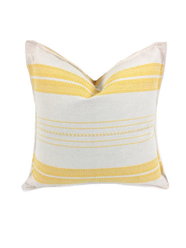 Mexican pillow cover, Yellow Striped, Bohemian, Global Style Home Decor, All Cotton