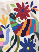 Otomi Textile, From Mexico, Hand-Embroidered Flowers and Animals on Ivory Cotton, A22