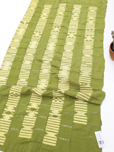 African Fabric, Green and Yellow Aso Oke, (Asoks) Hand made, Nigeria