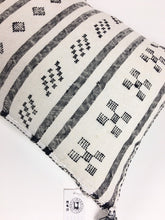 Cactus silk Pillow with Black Berber designs, Vintage Moroccan Home Decor, Pattern MorWhtC