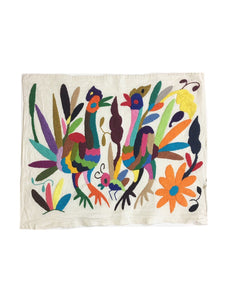 Bug, Bird, and Floral Otomi Wall Art Textile from Mexico, Otomi, Rainbow color Hand-embroidery